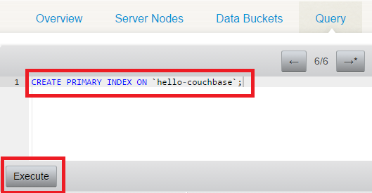 Create a primary index on a Couchbase bucket