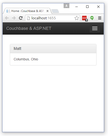 The Index view of Couchbase Person documents in Bootstrap