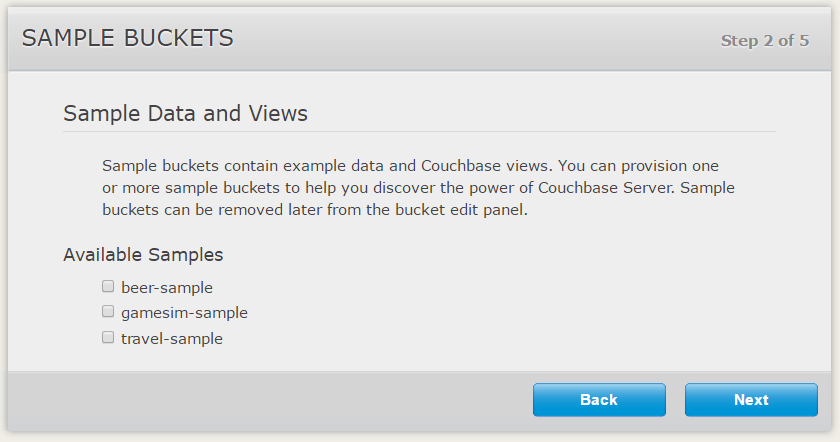 Couchbase Server Setup Wizard Sample Buckets