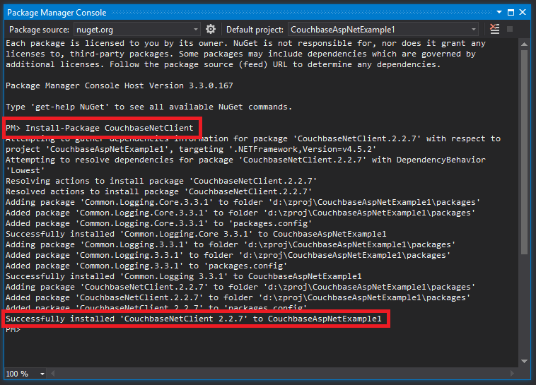 NuGet Package Manager Console for installing CouchbaseNetClient