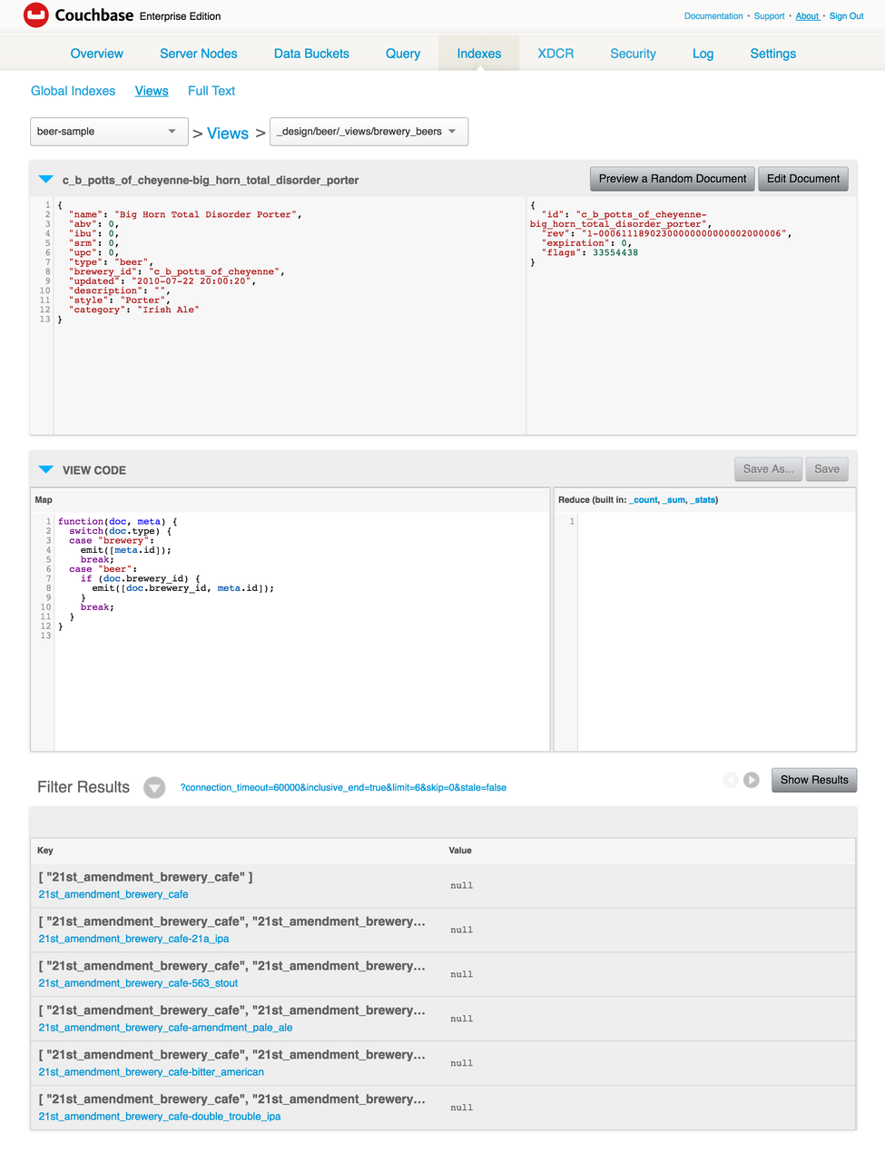 Couchbase Server View Sample