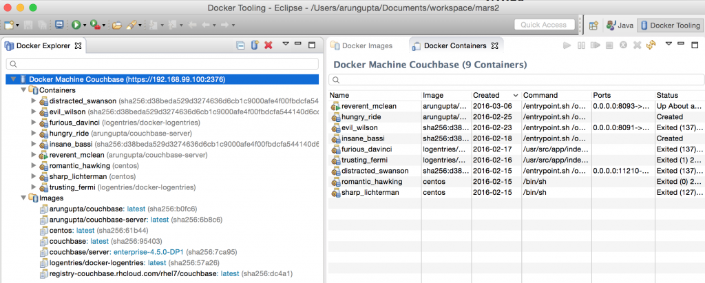 Docker Eclipse Mars Docker Explorer Default View