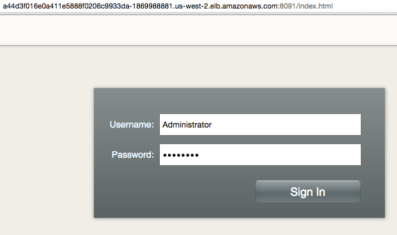 Kubernetes on Amazon - Couchbase Login Page