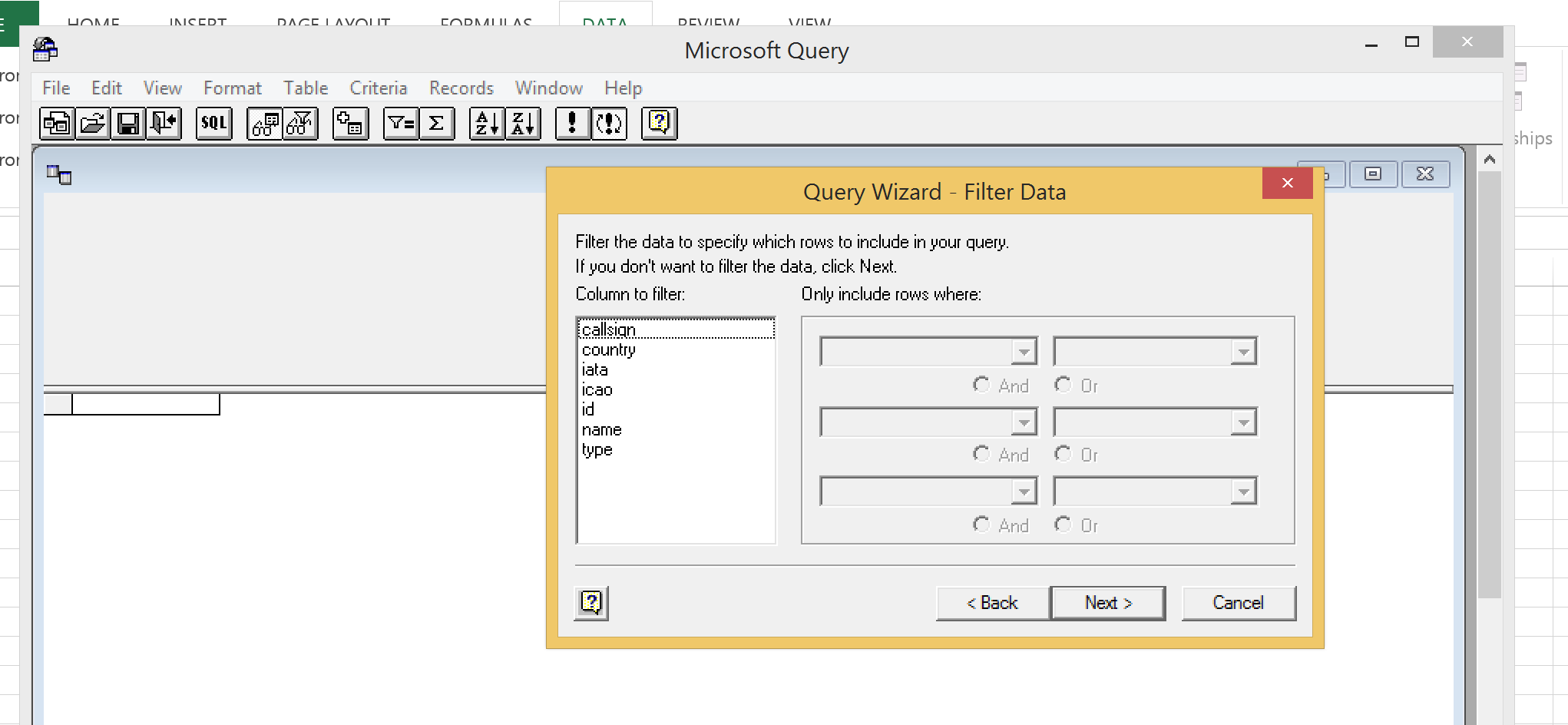 ODBC Excel Filter Data - Windows