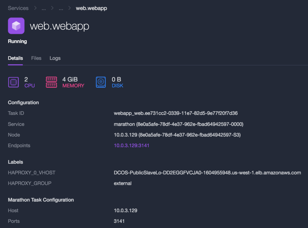 DC/OS Cluster Web Application