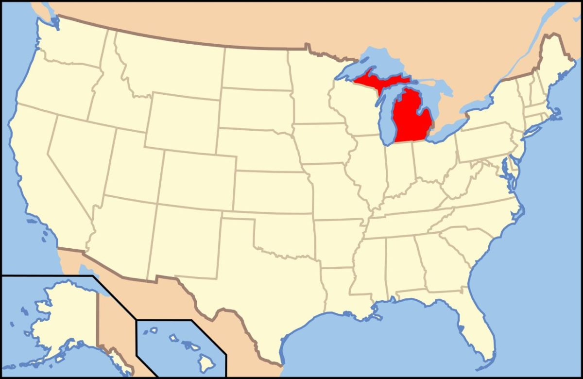 Michigan, licenses through Creative Commons - https://commons.wikimedia.org/wiki/File:Map_of_USA_MI.svg