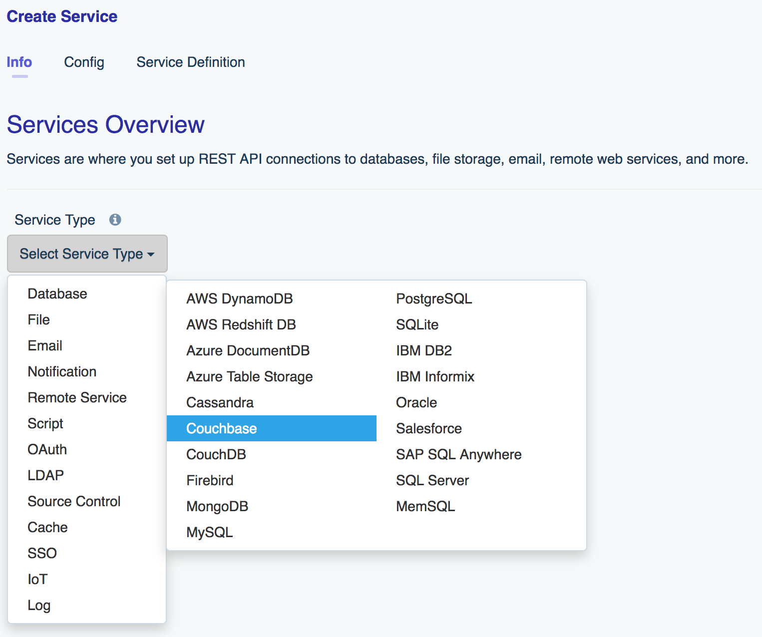 Select the Couchbase database service