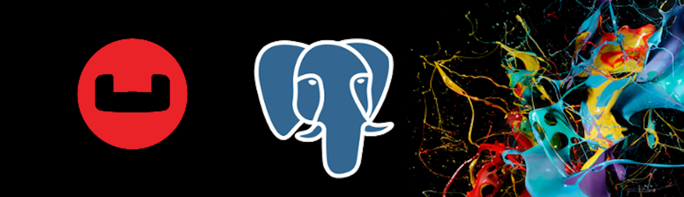 The Couchbase next to the Postgres logo with a splash of color to the right of both