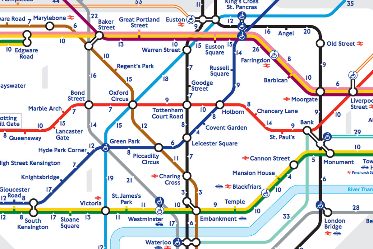 A schematic walking map of the London Tube